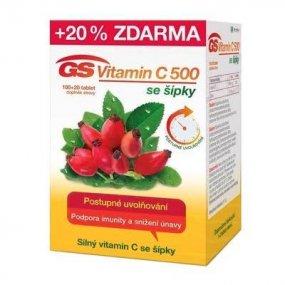 GS Vitamin C 500 se šípky 100 + 20 tablet