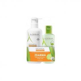 A-derma Exomega Control mléko 400 ml + Zvláčňující mycí gel 2v1 200 ml dárková sada